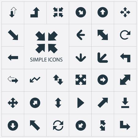 Ilustración vectorial Conjunto de iconos indicadores simples. Elementos Dirección a la izquierda, Retroceso, Debajo y otros sinónimos Abajo, Aumento y Progreso. Foto de archivo - 85550366