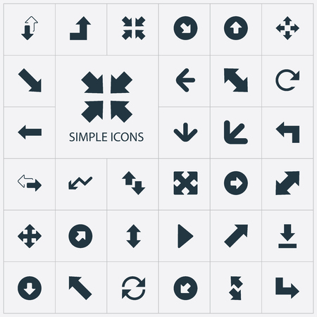 Vector Illustration Set Of Simple Indicator Icons. Elements Left Direction, Retrogression, Let Down And Other Synonyms Down, Increasing And Progress.