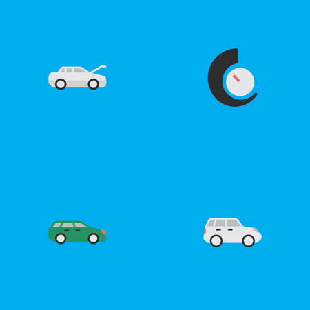 Vector Illustration Set Of Simple Transportation Icons. Elements Suv, Speedometer, Sedan And Other Synonyms Counter, Auto And Crossover.