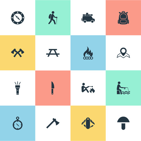 Elements Rucksack, Camper And Other Synonyms Bonfire, Fisherman And Location.  Vector Illustration Set Of Simple Outdoor Icons.