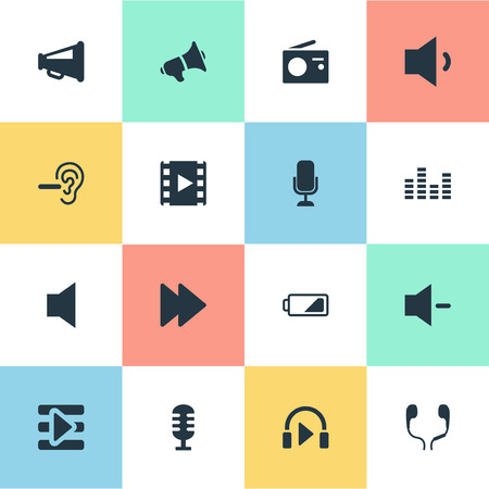 Elements Minus, Equalizer, Hush And Other Synonyms Loudspeaker, Communication And Chart.  Vector Illustration Set Of Simple Music Icons.