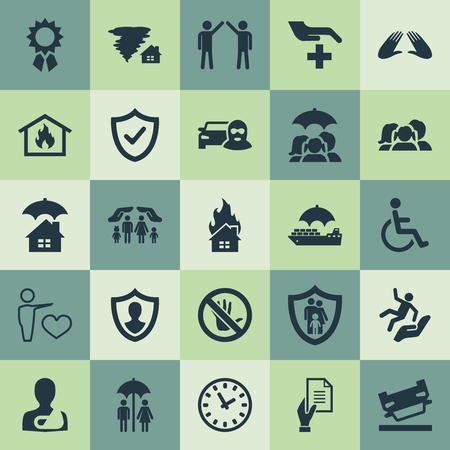 Elements Agreement, Medical Attendance, Care And Other Synonyms Fuse, Award And Medical.  Vector Illustration Set Of Simple Safeguard Icons. Ilustração