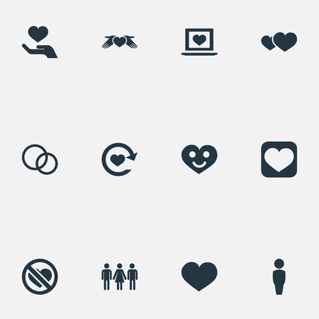 Vector Illustration Set Of Simple Love Icons. Elements Romance, Love, Care And Other Synonyms Heart, No And Prohibited. 向量圖像