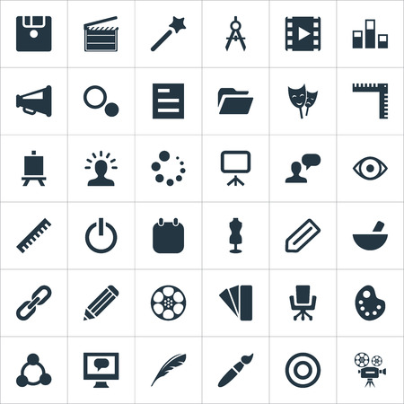 Vector Illustration Set Of Simple Design Icons. Elements Assessment, Bullhorn, Paintbrush And Other Synonyms Slideshow, Action And Wand.