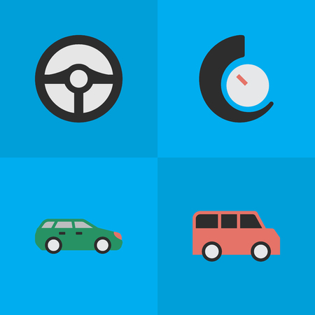 Vector illustration set of simple shipping icons. Elements steering, speedometer, sedan and other synonyms speedometer, auto and chronometer. Иллюстрация