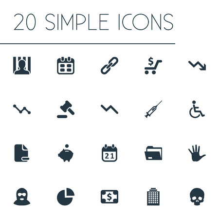 Elements Handicapped Man, Piggy Bank, Bankroll Synonyms Injection, Pie And Arm.  Vector Illustration Set Of Simple Situation Icons. Illustration