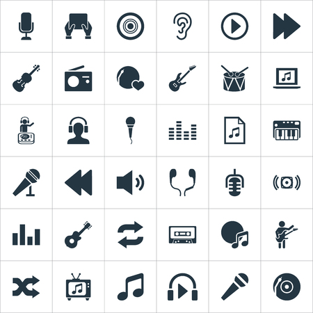 Vector Illustration Set Of Simple  Icons. Elements Speech, Compact Disk, Random Synonyms Sound, Old And Melody. Illustration
