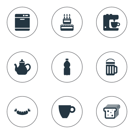 Vector Illustration Set Of Simple Gastronomy Icons. Elements Lager, Dishware Washer, Blender And Other Synonyms Lager, Dishwashing And Bread. Illustration