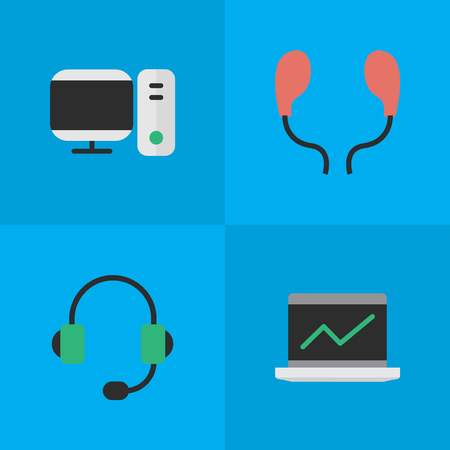 Vector Illustration Set Of Simple Gadget Icons. Elements Notebook, Earphone, Microphone And Other Synonyms Screen, Earphone And Earmuff.
