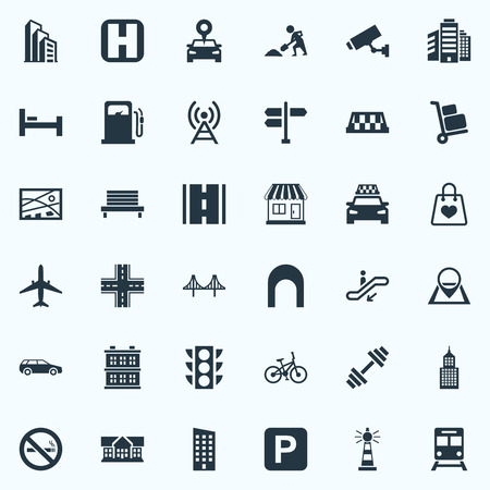 Vector Illustration Set Of Simple Urban Icons. Elements Car, Escalator, Bed And Other Synonyms Institute, Map And Cityscape. Иллюстрация