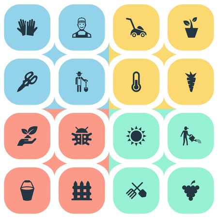 簡単な園芸アイコンのベクター イラスト セット。要素の植木鉢、カブトムシ、ルートおよび他の同義語輝き、機器とバケツ。  イラスト・ベクター素材