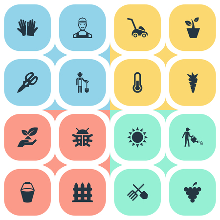 Vector Illustration Set Of Simple Gardening Icons. Elements Flowerpot, Beetle, Root And Other Synonyms Shine, Equipment And Pail.