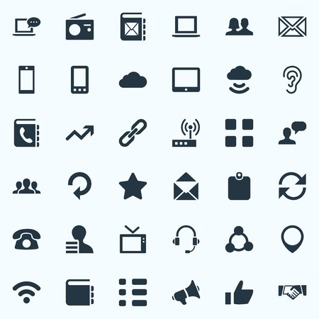 Vector Illustration Set Of Simple Network Icons. Elements Thumb, Wireless Access, Success And Other Synonyms Access, Call And Megaphone. Illusztráció