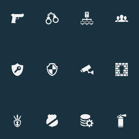 Vector Illustration Set Of Simple Protection Icons. Elements Protector, Datacenter, Penitentiary And Other Synonyms Guard, Safety And Team.