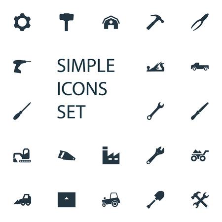 Vector illustratie Set van eenvoudige industriële iconen. Elements Spanner, Fretsaw, Hammer en andere synoniemen Beitel, schoppen en pick-up.