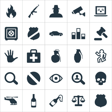 Vector Illustration Set Of Simple Offense Icons. Elements Explode, Magnifier, Blaze And Other Synonyms Dead, Gun And Solider.
