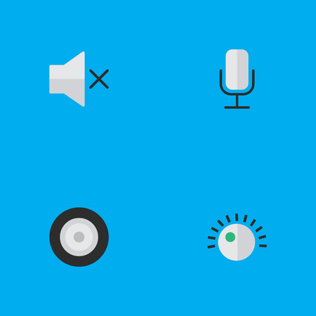 Vector Illustration Set Of Simple Melody Icons. Elements Loudspeaker, Regulator, Volume And Other Synonyms Mic, Mute And Regulator.