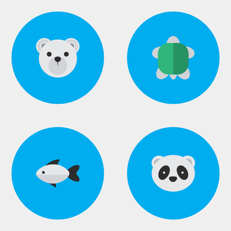 Vector Illustration Set Of Simple Fauna Icons. Elements Perch, Panda , Tortoise Synonyms Seafood, Animal And Bear. Illustration