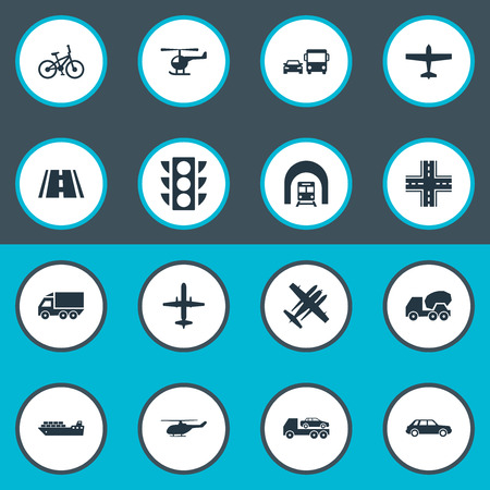 Vector Illustration Set Of Simple Shipment Icons. Elements Military Fighter, Sea Logistics, Helicopter And Other Synonyms Chopper, Fighter And Transport. Illustration