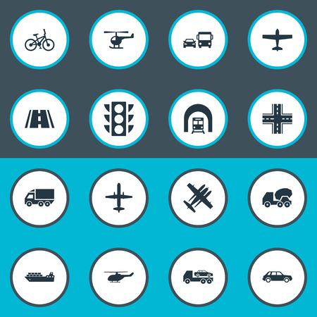 Vector illustratie Set van eenvoudige zending iconen. Elements Military Fighter, Sea Logistics, Helicopter and Other Synoniemen Chopper, Fighter And Transport.