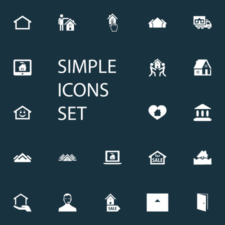 Vector Illustration Set Of Simple Property Icons. Elements Online Property, Residence, Real Estate Database And Other Synonyms Selection, Cargo And Pointer. Ilustração