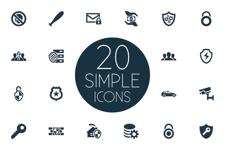 Vector Illustration Set Of Simple Security Icons. Elements Key, Gear, Stick And Other Synonyms Secure, Protection And Man.