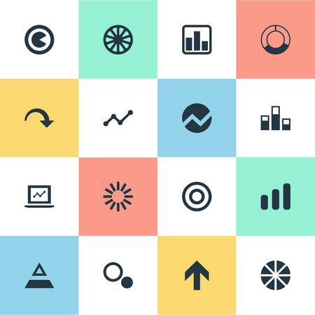 벡터 일러스트 레이 션 간단한 다이어그램 아이콘의 집합입니다. 요소 조각, 대상, 삼각형 및 기타 동의어 원형, 원형 및 원형. 일러스트