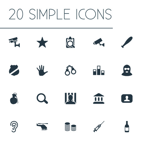 Vector Illustration Set Of Simple Offense Icons. Elements Overhear, Cash, Lock And Other Synonyms Handcuffs, Syringe And Searching. Illusztráció