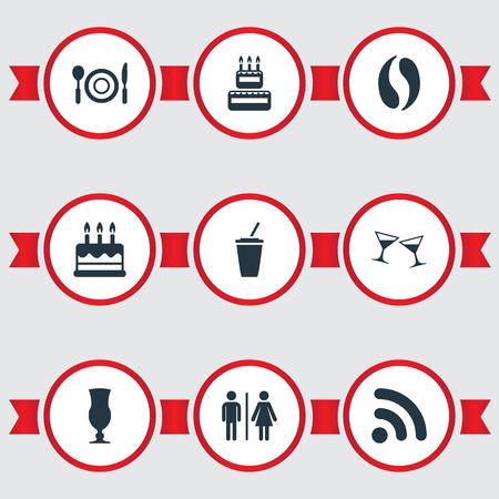 pareja comiendo: Ilustración vectorial Conjunto de iconos de Cafe simple. Elementos de celebración, pastelería, inodoro y otra tabla de sinónimos, celebración y bebida. Vectores