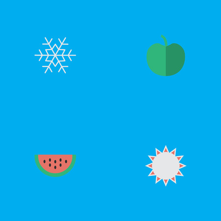Vector Illustration Set Of Simple Gardening Icons. Elements Flake Of Snow, Fruit, Melon And Other Synonyms Snowflake, Hate And Sunny. Çizim