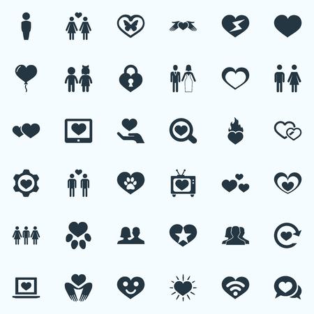 벡터 일러스트 레이 션 간단한 발렌타인 아이콘의 집합입니다. 요소 레즈비언, 결혼, 장식 및 기타 동의어 인간, 동물 및 채팅.