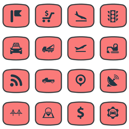 Vector Illustration Set Of Simple City Icons. Elements Wifi Area, Shopping, Car Workshop And Other Synonyms Excavator, Digger And Service.