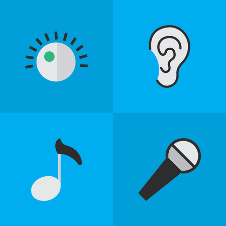 Vector Illustration Set Of Simple Melody Icons. Elements Listen, Regulator, Mike And Other Synonyms Note, Amplifier And Regulator.