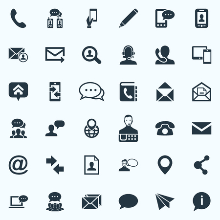 Vector Illustration Set Of Simple Communication Icons. Elements Postcard, Speech Cloud, Selfie And Other Synonyms Career, Arrows And Epistle.