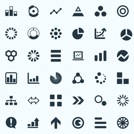 Vector Illustration Set Of Simple Diagram Icons. Elements Task, Laptop, Cycle And Other Synonyms Dartboard, Segmentation And Direction.