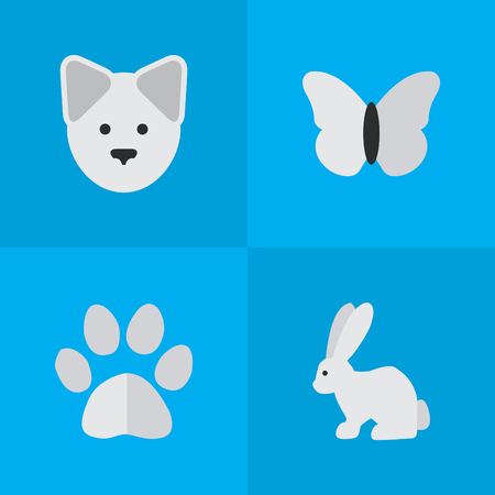 Vector Illustration Set Of Simple Wild Icons. Elements Wolf, Moth, Foot And Other Synonyms Insect, Moth And Butterfly.