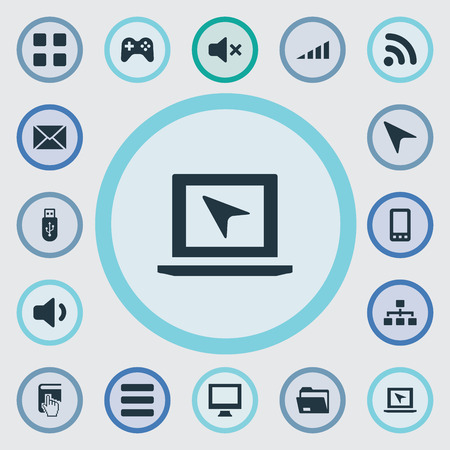 Vector Illustration Set Of Simple Device Icons. Elements Silence, Wave, Hierarchy And Other Synonyms Wave, Cursor And Wireless.