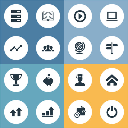 Vector Illustration Set Of Simple Teamwork Icons. Elements Database, Success, Graph And Other Synonyms Champion, Road And Pointer. Illustration