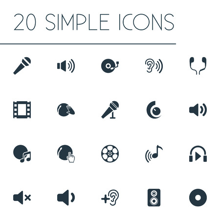 aural: Vector Illustration Set Of Simple Sound Icons. Elements Partymaker, Mike, Tape And Other Synonyms Earmuff, Headphone And Disco. Illustration
