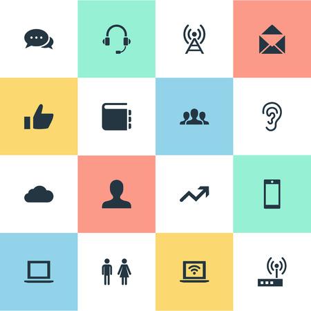 벡터 일러스트 레이 션 간단한 사회 아이콘의 집합입니다. 요소 노트북, 회원, 듣기 및 다른 동의어 사용자, 귀 및 타워.