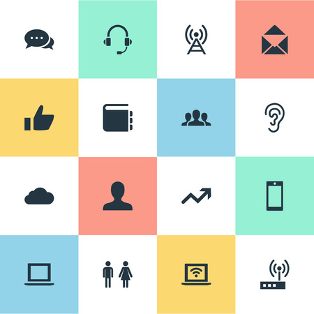 Vector Illustration Set Of Simple Social Icons. Elements Notebook, Member, Listen And Other Synonyms User, Ear And Tower. 일러스트