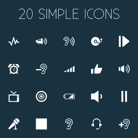 Illustration vectorielle définie des icônes audio simples. Éléments Vinyle, Oreille, Pouls Et Autres Synonymes Alarme, Pause Et Son. Banque d'images - 85614281