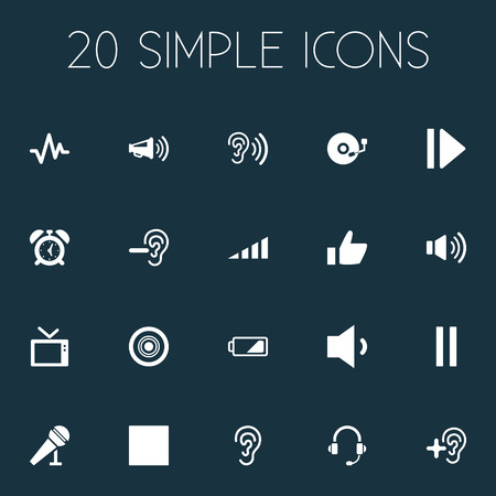 Vector Illustration Set Of Simple Audio Icons. Elements Vinyl, Ear, Pulse And Other Synonyms Alarm, Pause And Sound.