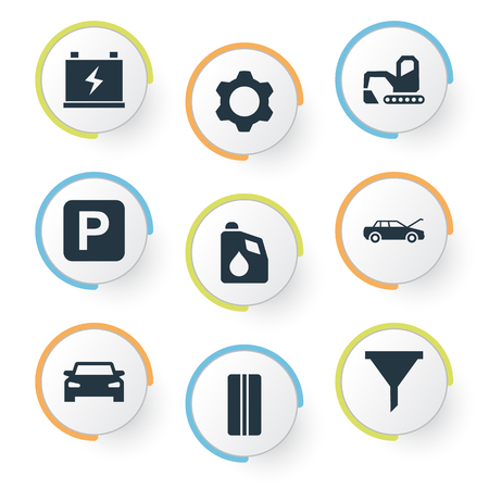 Vector illustratie Set van eenvoudige voertuig pictogrammen. Elements Cogwheel, Filter, Car And Other Synoniemen Tandrad, Auto en reparatie.