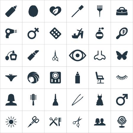 Illustration vectorielle définie des icônes de salon simple. Fauteuil Elements, séchoir à cheveux, papillon et autres synonymes Nez, huile et soin. Banque d'images - 85614292