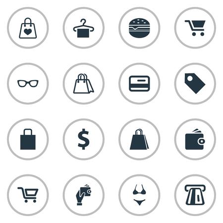 Ilustración vectorial Conjunto de iconos de dinero simple. Bolso de los elementos, dinero plástico, dinero de los sinónimos de la tarjeta de crédito, tarjeta y compras. Foto de archivo - 85614294