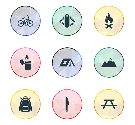 Vector Illustration Set Of Simple Outdoor Icons. Elements Campfire, Rucksack, Bicycle And Other Synonyms Alps, Campfire And Canvas.