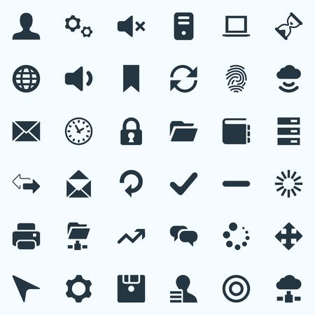 Vector illustratie Set van eenvoudige Apps iconen. Elements Silence, Cloud, Arrows and Other Synoniemen Boodschap, archief en variatie. Stock Illustratie