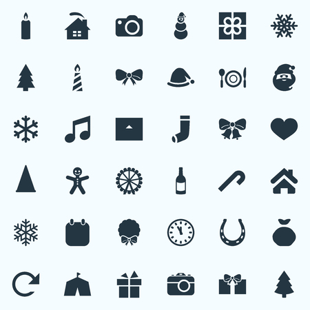 Vector Illustration Set Of Simple Christmas Icons. Elements Dinner, Gift, Lollipop And Other Synonyms Refresh, Wreath And Candy.