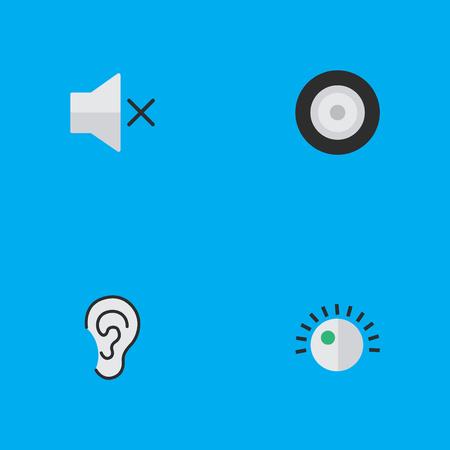 벡터 일러스트 레이 션 간단한 멜로디 아이콘의 집합입니다. 요소 레귤레이터, 볼륨, 듣기 및 기타 동의어 듣기, 음량 및 귀. 일러스트